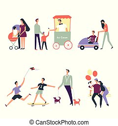 People family children in park vector icons