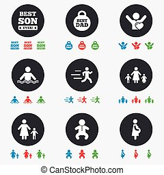 People, family icons. Swimming, baby signs.