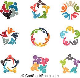 People Family logo - Set of Unusual People Group Teamwork...
