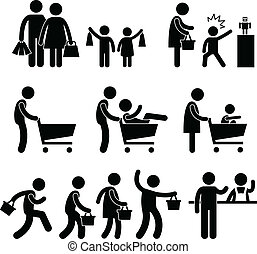 A set of pictogram representing family at shopping.