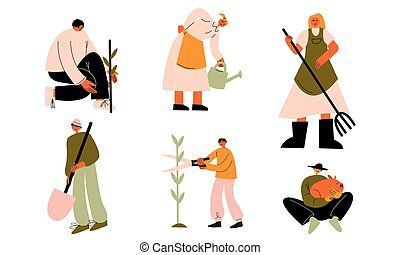 People farmers taking care of animals and harvest vector illustration