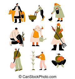 People farmers with animals, produce and tools vector illustration
