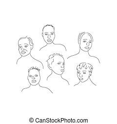 Hand drawn vector illustration of people fases.