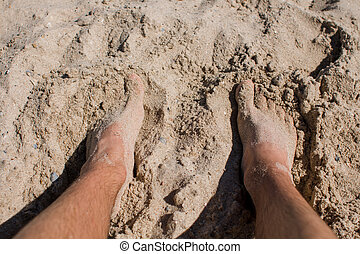 people feet in the sand on the beach