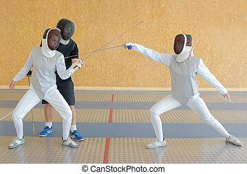 People fencing