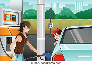 A vector illustration of a young woman filling up gasoline at the gas station