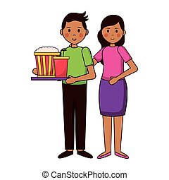 people film movie - man and woman with pop corn and soda ...