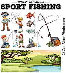 People fishing and river scene