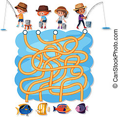 People fishing maze game