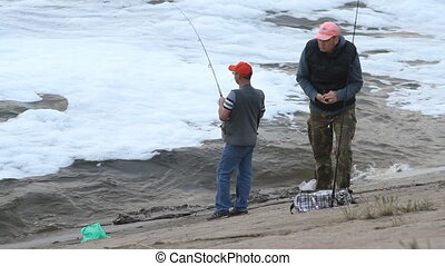People fishing on a river - Volgograd - May 03: , River...