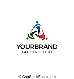 people fitness logo design concept template vector