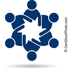 People flat logo. Team of friends