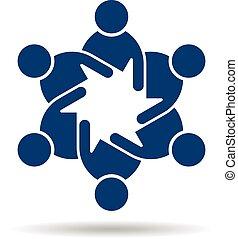 People flat logo. Team of friends