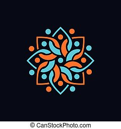 People Floral circle logo vector element. floral logo template