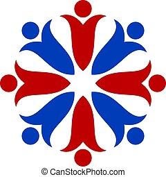 People flower vector logo design.