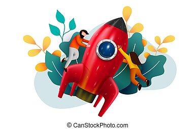 People flying around big rocket. Startup and starting business concept. Web page, banner, presentation. Business project startup process, idea through planning.