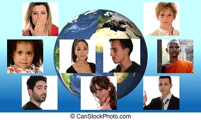 collage of people of different racial and ethnic backgrounds over planet earth background
