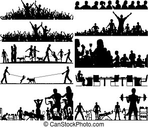 Set of editable vector people silhouettes as foregrounds