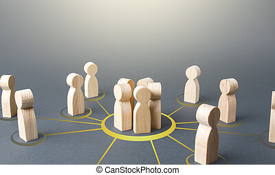 People form a group. Combining into a cooperative form to achieve a common goal and solve a problem. Political movement, volunteering, social organizations, activists. Collaboration and cooperation