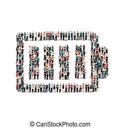 A large group of people in the form of battery , charge . Vector illustration.