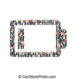people form battery charge - A large group of people in the...