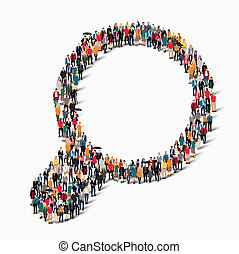 people form magnifying glass. - A large group of people in ...