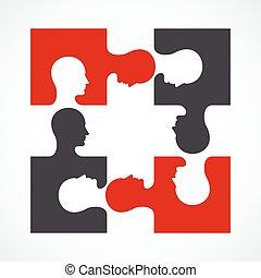 people four puzzle concept