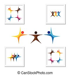 people, friends, children vector logo icons and design...