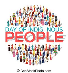 People Friendship. International Day of the World Indigenous Peoples. Vector flat circle concept illustration concept background