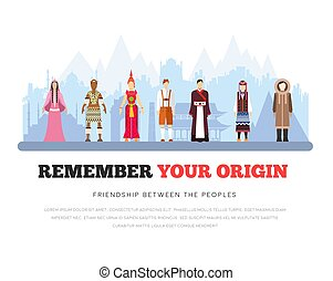 People Friendship. International Day of the World Indigenous Peoples. Vector flat illustration concept background