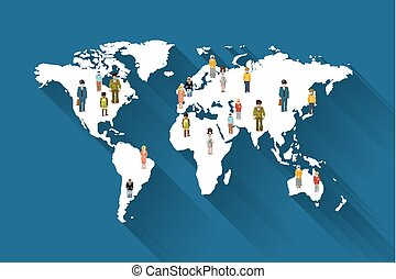 People from different countries on world map