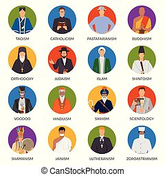 People From World Religions Flat Avatars - Set of flat...