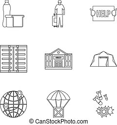 People fugitives icons set, outline style