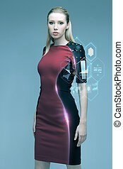 beautiful futuristic woman with virtual projection - people,...