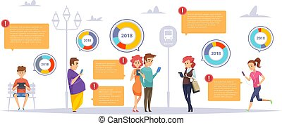 People gadgets infographic. Male female persons chatting...