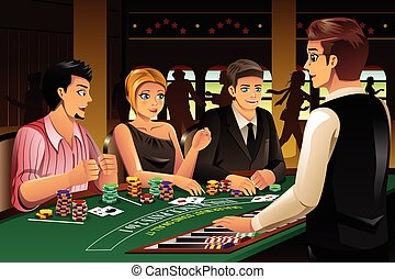 People Gambling in a Casino