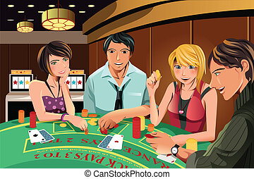 A vector illustration of people gambling in a casino