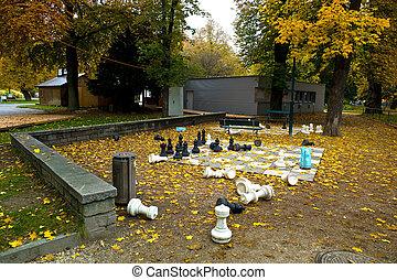 people garden in linz, upper austria in the autumn - the ...
