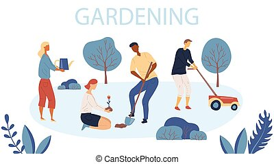 People Gardening. Woman and Man are Planting Gardens Flowers, Man is Mowing the Lawn. Agriculture and Garden Job. Gardening Characters. Flat style. Vector Illustration