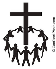 a group of people gathering around a cross