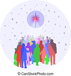 People Gathering Under Bright Star