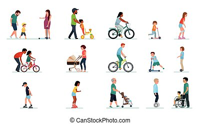 People generation. People of all ages in the Park. Set of illustrations of people walking in the Park, on bike, on scooter, on gyrometer.