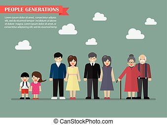 People generations in flat style