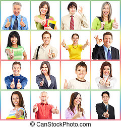 People gesture collage. Man and woman portrait isolated.