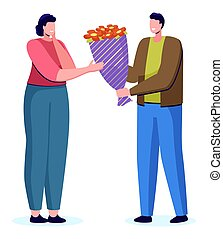 People Giving Natural Gift Flowers, Dating Vector