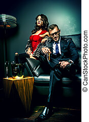 people glamor - Beautiful gorgeous couple in elegant evening...