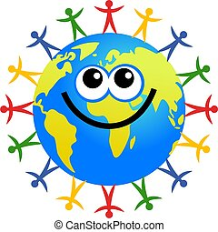 people globe - Happy cartoon world globe surrounded by...