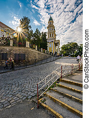 people go uphill to the Greco Catholic cathedral - Uzhgorod,...
