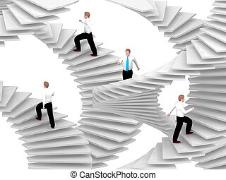 People goes on the career stairs.