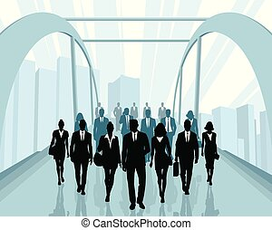 People going to work